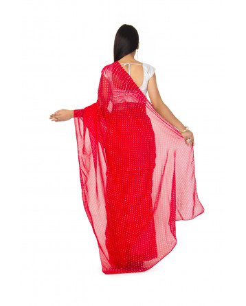 Georgette Mothda Leheriya Saree In Red Color