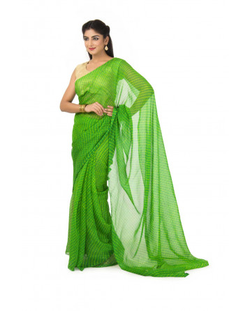 Georgette Mothda Leheriya Saree In Green Color