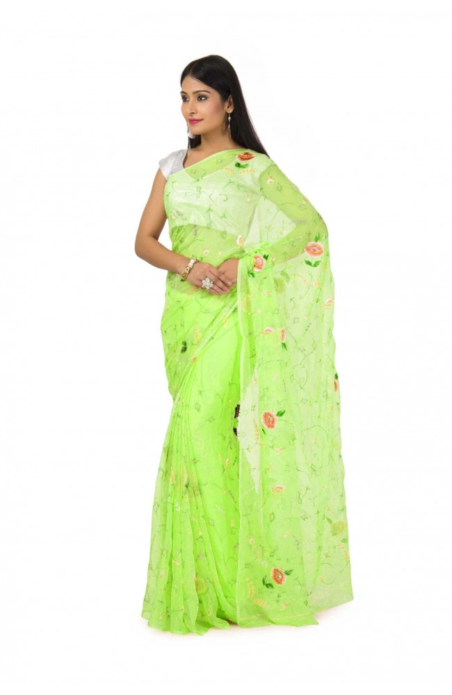 Chiffon saree In Parrot green color