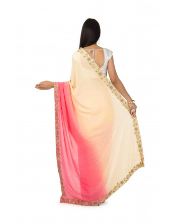 Georgette Saree In Peach Pink Color