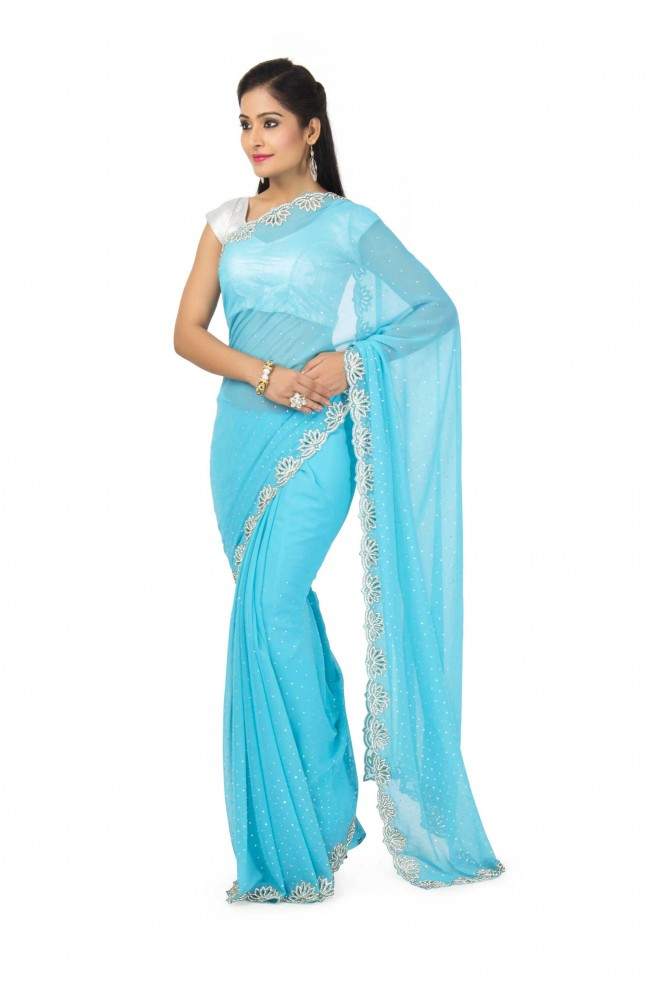 Faux Georgette Saree In Firozi Color