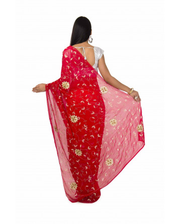 Chiffon Saree In Red Color