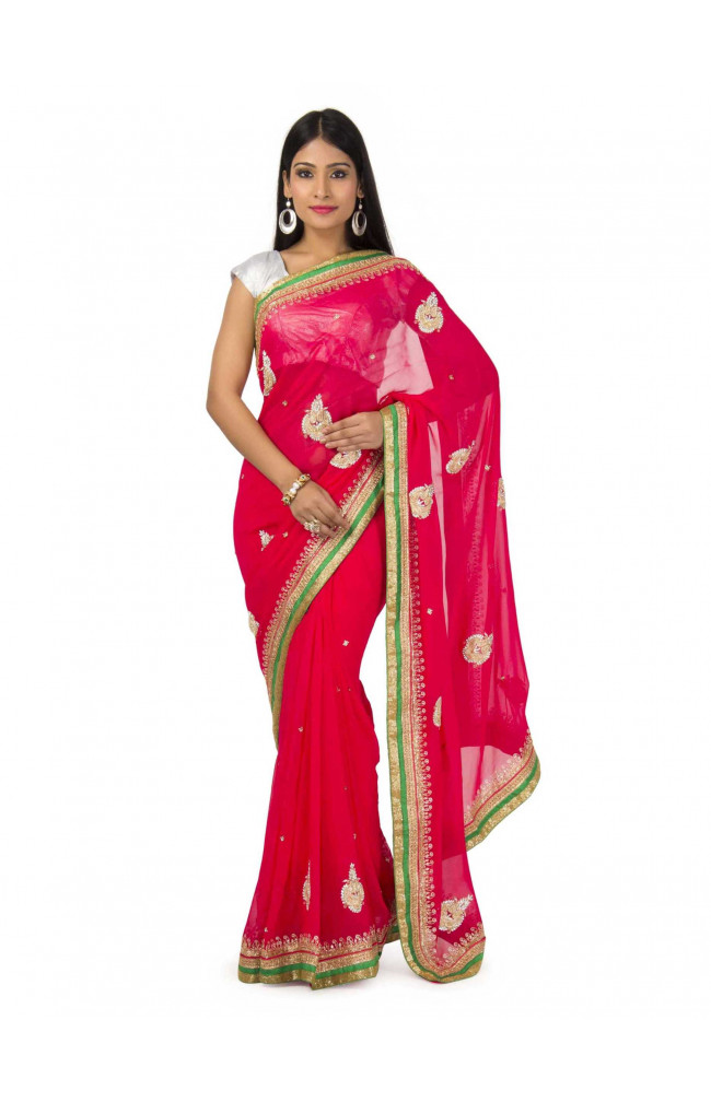 Faux Georgette Saree In Rani Color