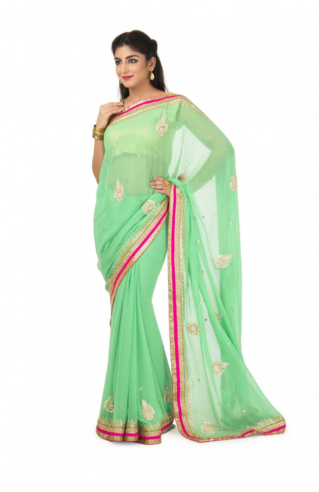 Faux Georgette Saree In Green Color