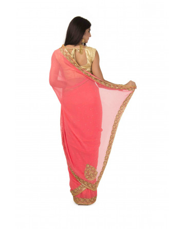 Faux Georgette Saree In Peach  Color