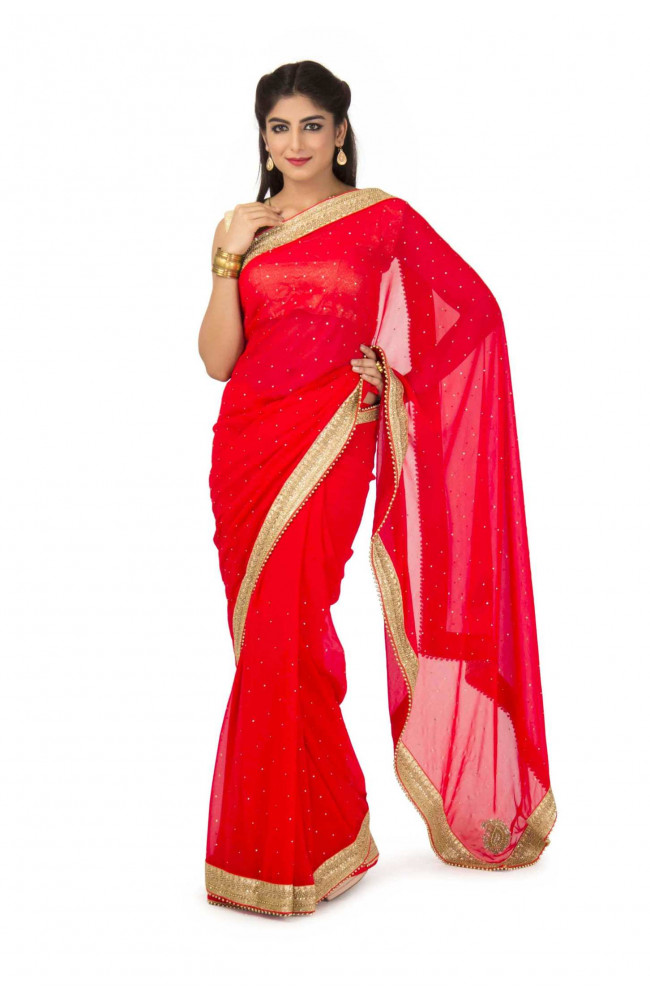 Faux Georgette Saree In Red Color