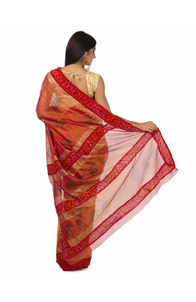 Kota Tissue Saree In Rust Color
