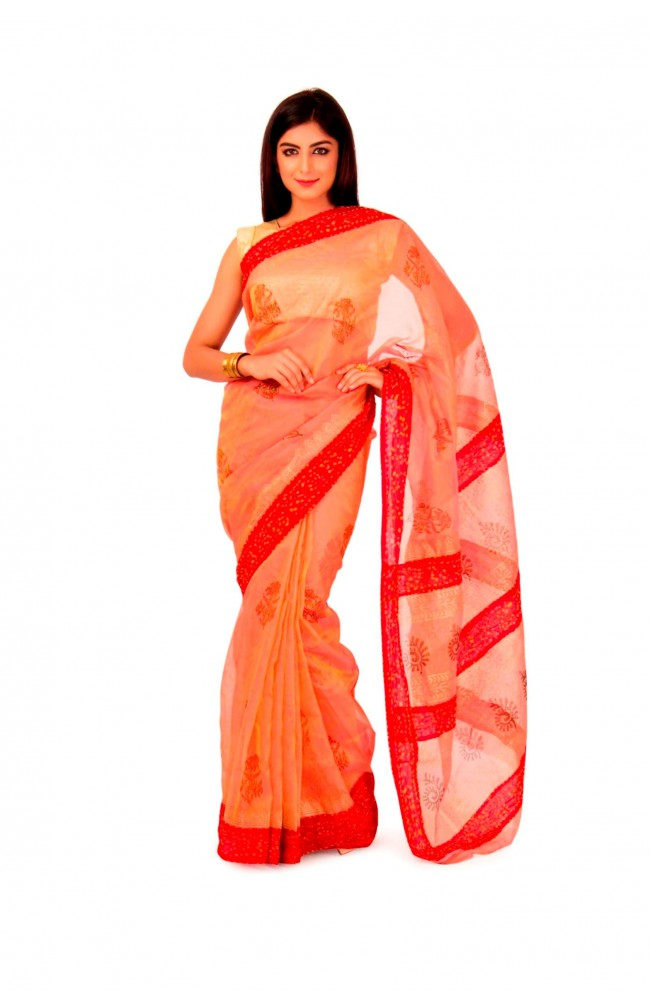 Kota Tissue Saree In Onion Pink color