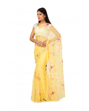 Chuffon saree In Yellow color