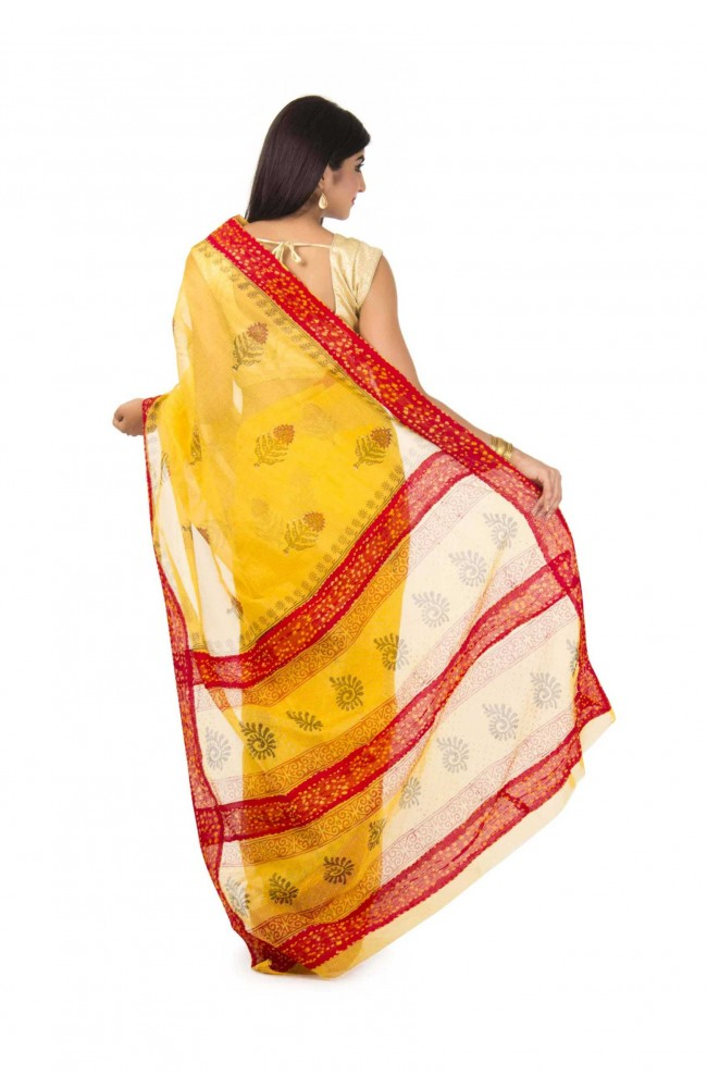 Kota Tissue Saree In Mustard Yellow color