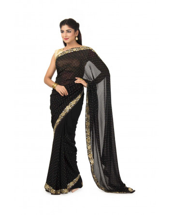 Georgette Saree In Black color