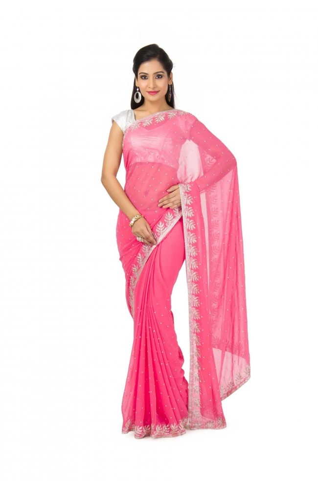 Faux Georgette Saree In pink Color