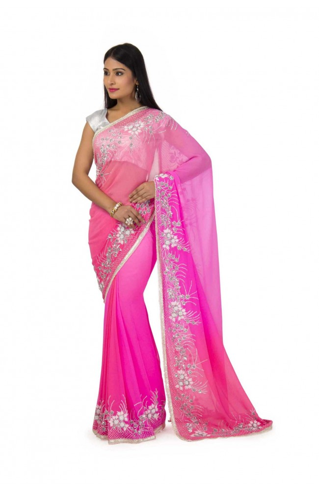 Chiffon Saree In Peach Pink  Shaded