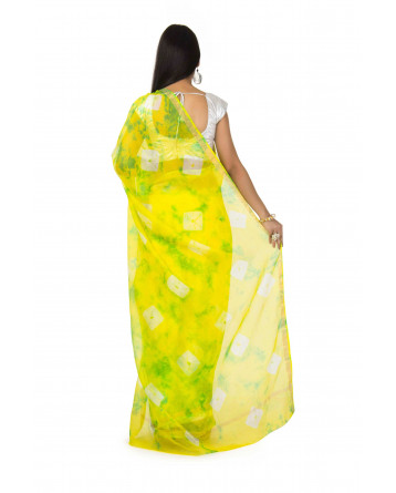 kota Silk Saree In Yellow Batik  With zari Border