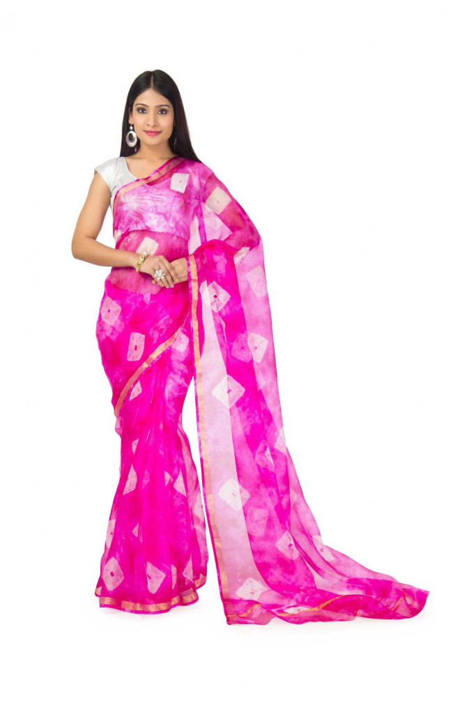 kota Silk Saree In Pink  Batik  With zari Border
