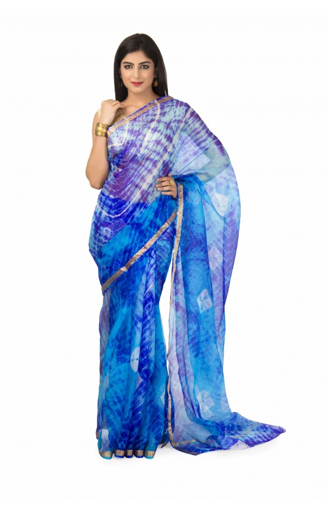 kota Silk Saree In Blue  Batik  With zari Border