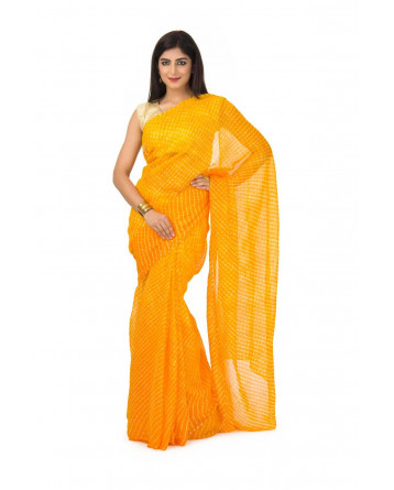 Georgette Mothda Leheriya Saree In yellow Color