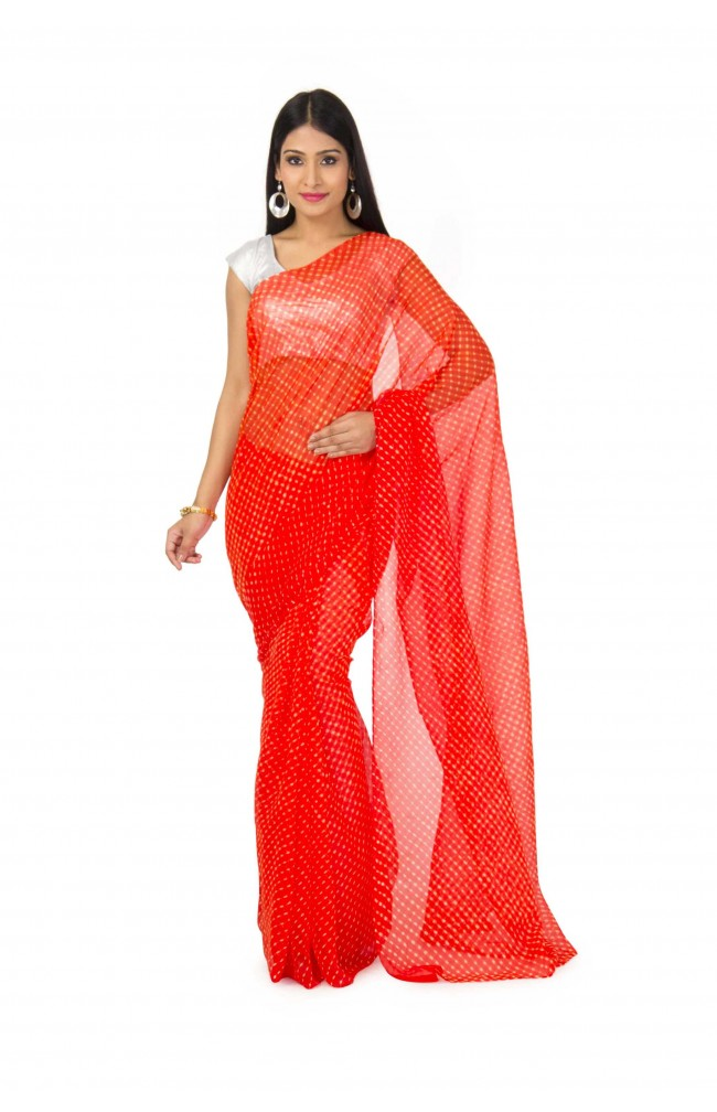 Georgette Mothda Leheriya Saree In Orange Color