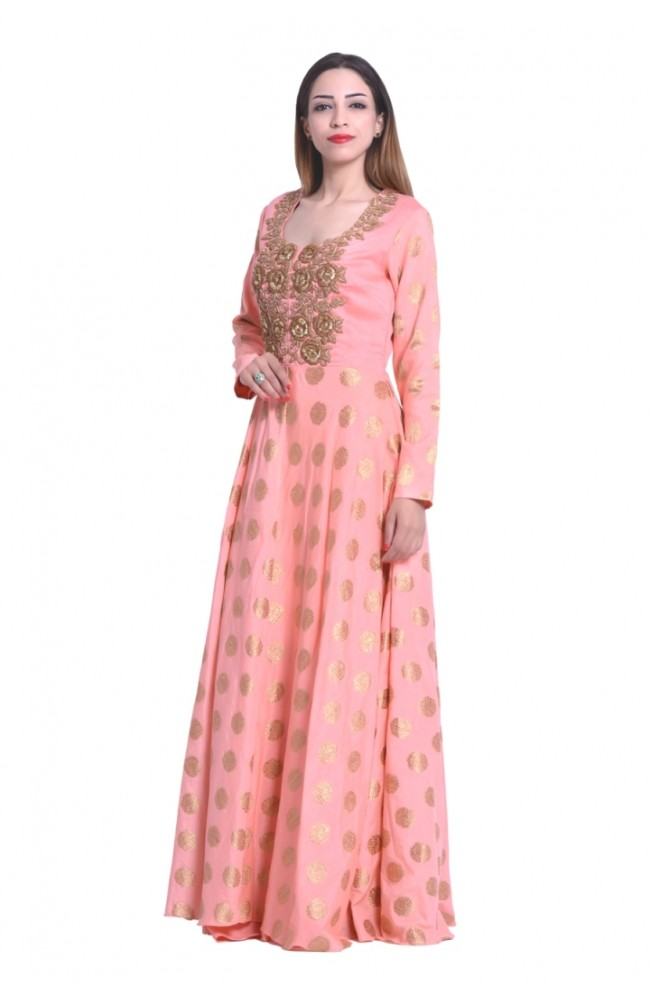Designer Gown In Peach Color