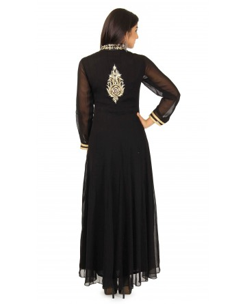 Georgette Anarkali Suit In Black Color