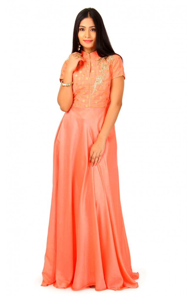 Gown In Peach Color