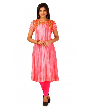 Faux Georgette Anarkali Cut Kurti In Peach Pink Color