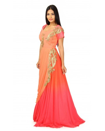 Gown In Peach, Pink Color